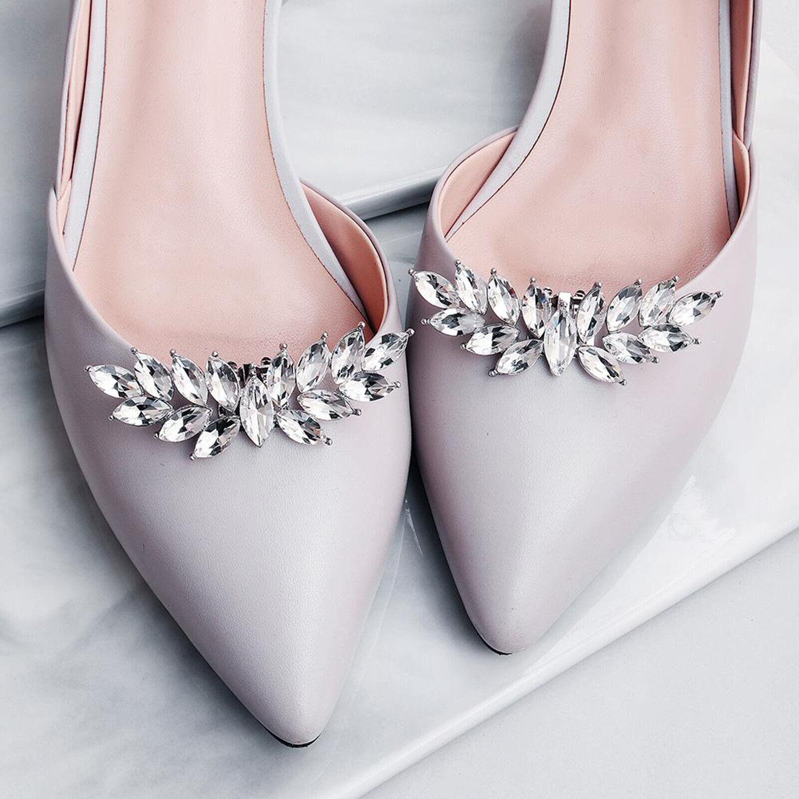 2Pcs Rhinestone Applique Shoe Clips Charms for DIY Wedding Dress Shoes Bridal