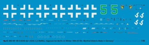 Peddinghaus-Decals 1//48 3063 Bf 109 G-6//AS der I.// EJG 2 Hagenow bei 2.Staffel