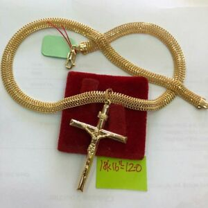 Gold-Authentic-18k-gold-cross-necklace-16-inches-chain