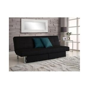 Convertible Futon Couch Sofa Bed Sleeper Microfiber Living Room Furniture Black