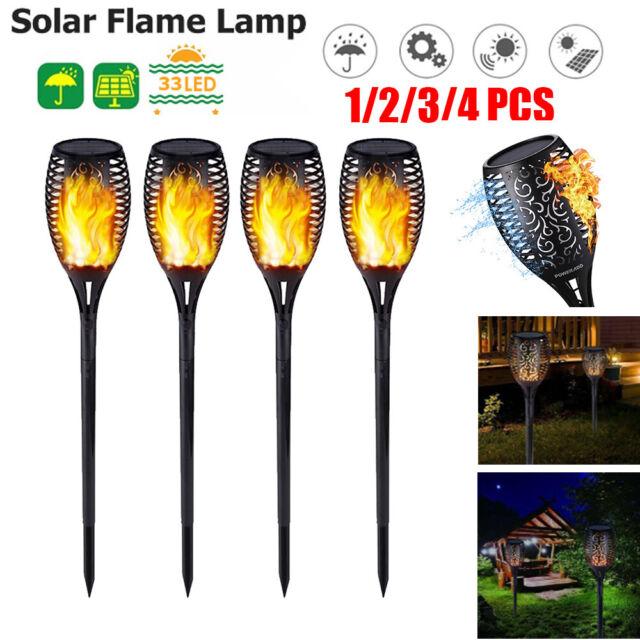 4 Pack 96 LED Waterproof Solar Torch Light Dancing Flickering Garden Flame Lamp