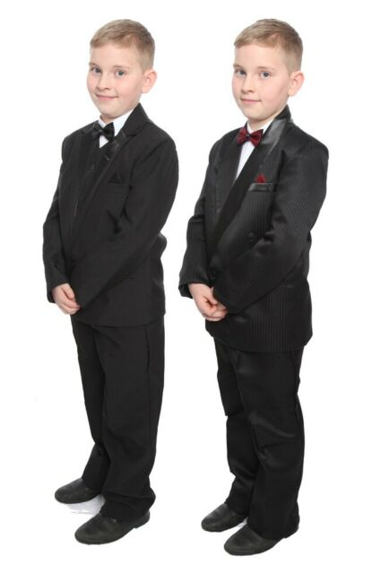 Boys Black Tux Suit Cruise Prom Wedding Party Clothing Ages 1-15 years New
