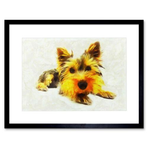 Pintura Digital Lindo Yorkie Cachorro Enmarcado Pared Arte Impresión 12X16 en