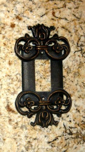 Metal Single Rocker Cover Old World Tuscan Fleur de Lis Medieval Switch Plate