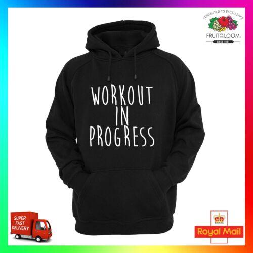 Workout In Progress Hoodie Hoody Funny Hooded Top Gym Fitness Unisex Sweatshirt