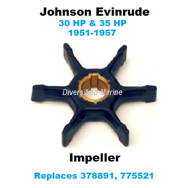 Johnson Evinrude Water Pump Impeller 30 35 HP 1951-1957 Replaces 378891 775521