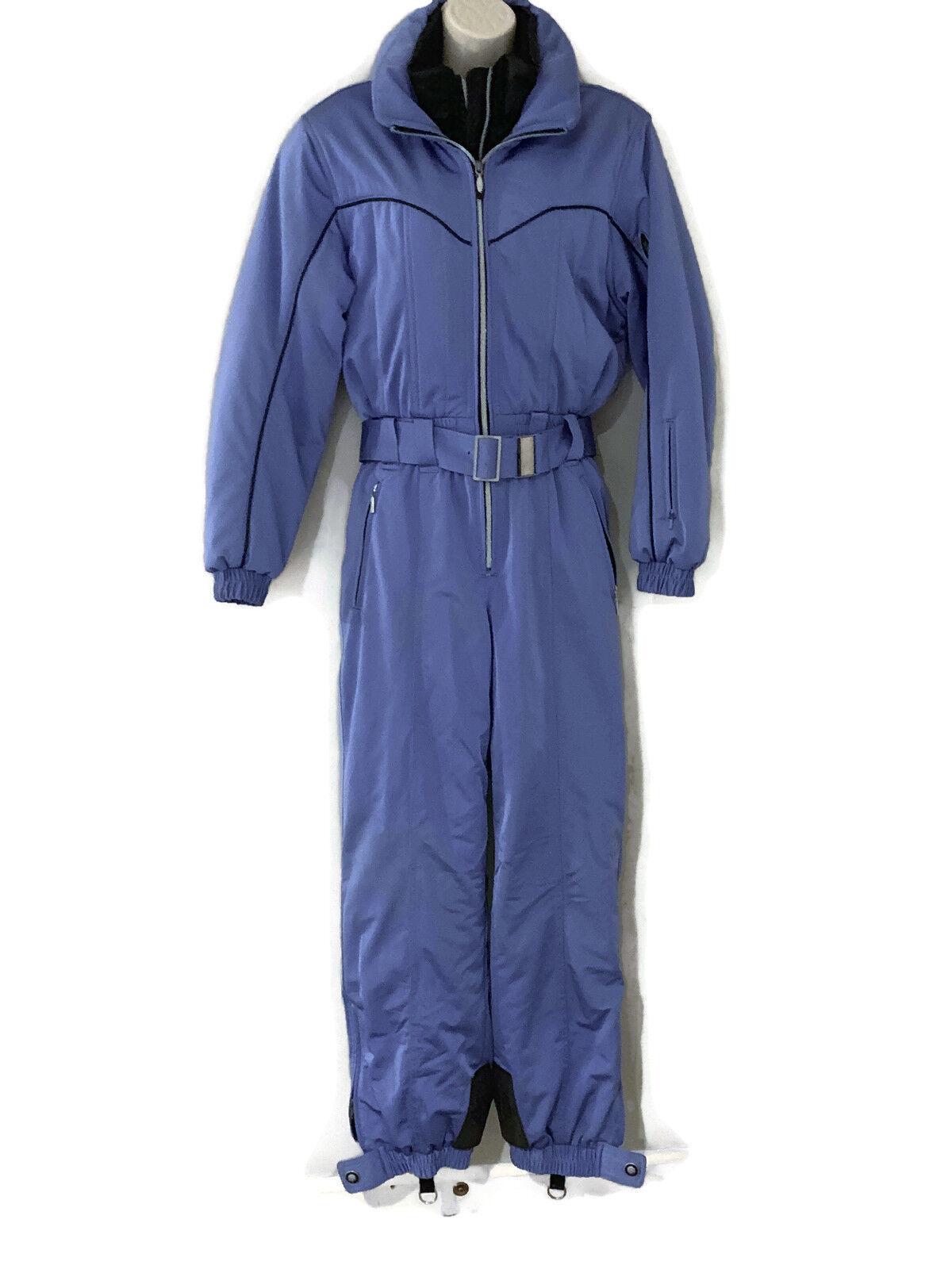 DESCENTE Womens Size 6 SKI SUIT One piece Snow Bib Snowsuit Vtg 80s 90s bluee