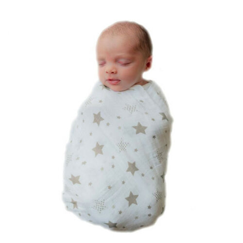Soft Large 100/% Cotton Muslin Swaddle Squares Blanket for Baby 120x120 cm