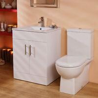 600mm Modern Square Toilet & Basin Vanity Storage Unit Bathroom Furniture