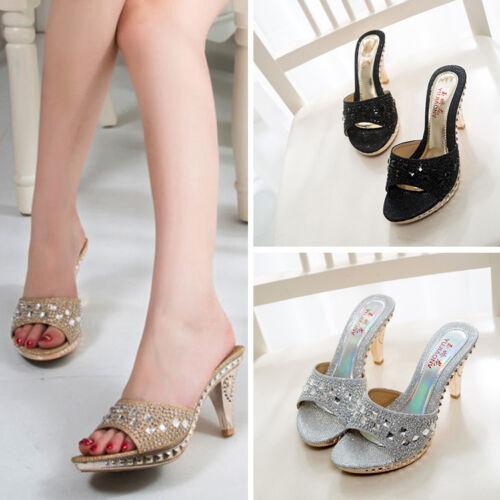 Nouveau Femmes Sandales Talon Haut Flip Flops Eté Pantoufles Parti Chaussures Diamant Chaussures
