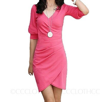 SALES Stretch Womens NEW Ladies Bodycon Wrap V Neck Bandage Mini Dress