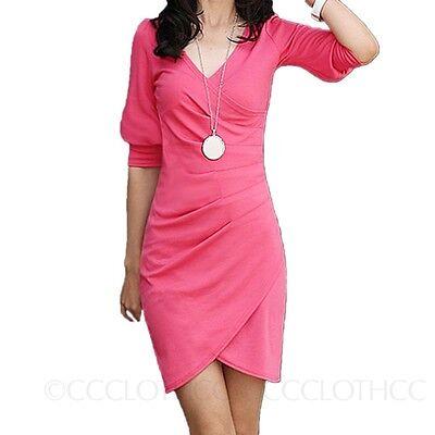 SALES Stretch Womens NEW Ladies Bodycon Wrap V Neck Bandage Mini Dress