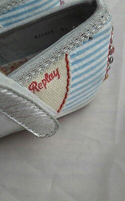 wunderschöne Replay Ballerinas Silber gr 31 bestickt