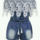Crochet Lace Trim Off Shoulder Denim romper playsuit summer wear size uk L 12-14