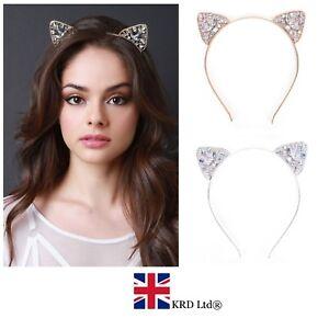Girls-Metal-RHINESTONE-Cat-Ear-Headband-Hair-Band-Fancy-Costume-Party-Cosplay-UK