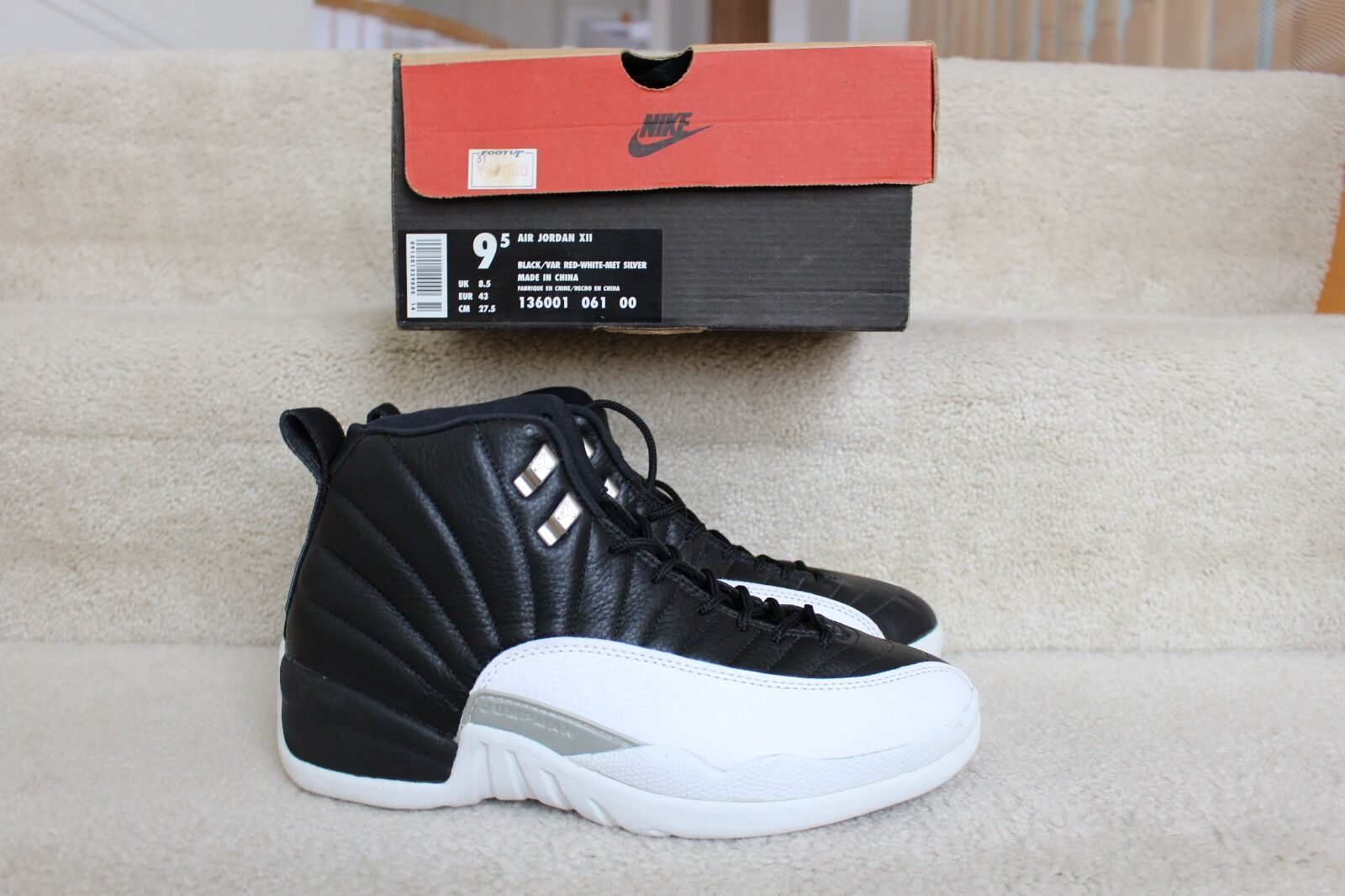 NIKE AIR JORDAN 12 XII BLACK WHITE PLAYOFFS 136001 061 MEN'S SZ 9.5 1997