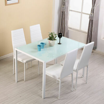 Stylish White Glass Dining Table 4 Faux Leather Chairs Kitchen