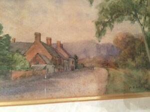 Counteshorpe-Village-A-B-Lea-1910-Original-Painting-Framed-And-Signed