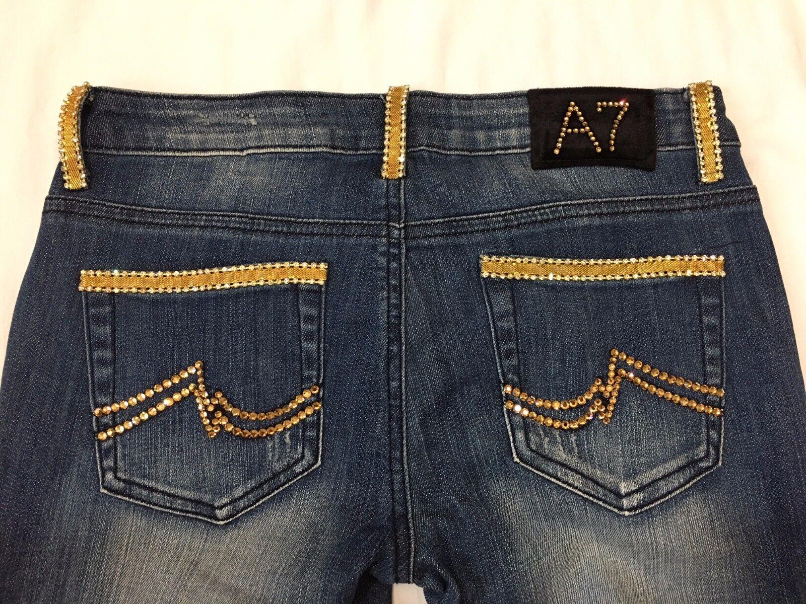 A7 Designer Denim Embellished Bling Skinny Stretch Jeans gold Swarovski Crystal