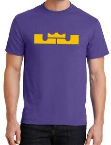 842e2b1aa772 New Mens LJ Crown T-shirt Lebron James LA Lakers Purple Yellow Los ...
