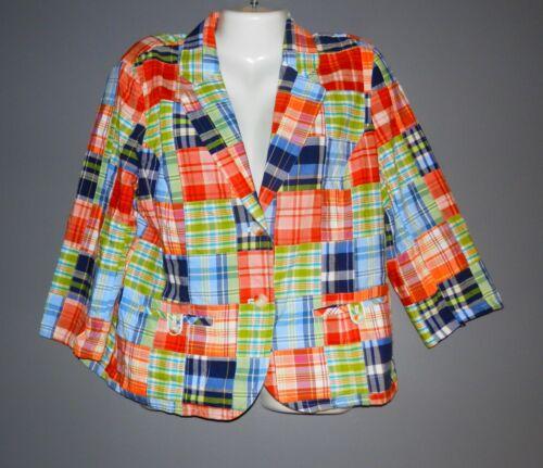 Women's 2 button Madras Plaid Blazer Jacket LL BEA