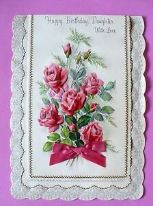 Image Is Loading VINTAGE HALLMARK HAPPY BIRTHDAY DAUGHTER ROSES GLITTER BOW