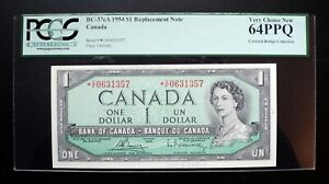 1954-Bank-of-Canada-1-Replacement-Note-C-F-0631357-PCGS-CH-UNC64-PPQ-BC-37cA