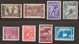 Romania-1937-MNH-Mi-528-535-Sc-B69-B76-Federation-of-Romanian-Sports-Clubs
