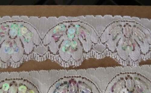 BORDE de encaje elástico de lentejuelas recorte 10mts de 4 cm ancho Elección De Colores