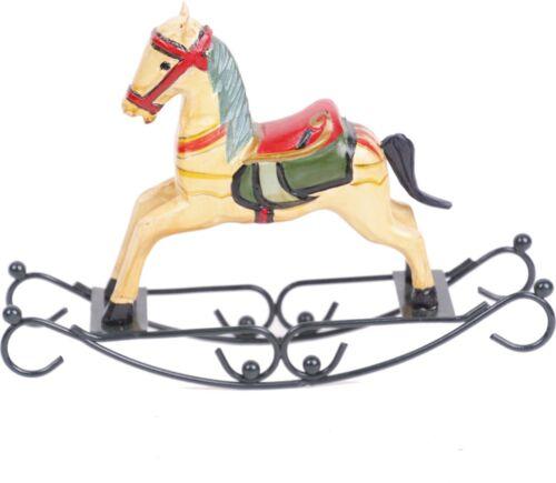 Nostalgie Schaukelpferd aus Holz Rot//beige 23cm x 16cm