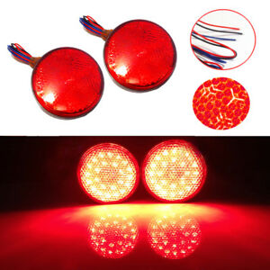 2 Red 24led Motorcycle Motor Scooter Round Reflector Brake Turn Signals Light Ebay