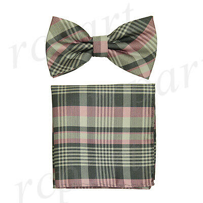 New formal Men/'s Pre-tied Bow Tie /& Hankie black red gray Plaids /& checkers