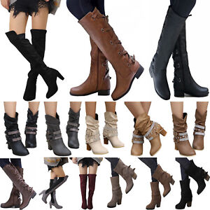 Womens-Ladies-Knee-High-Boots-Winter-Flats-Buckle-Zip-Up-Heels-Shoes-Size-Casual