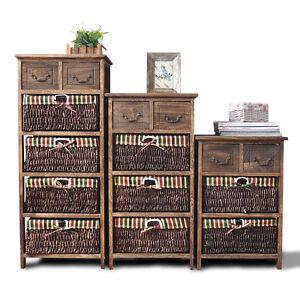 10 Off Wooden Frame Wicker Basket Drawer Storage Bed