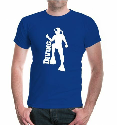 Herren Unisex T-Shirt Diving Tauchen Tauchsport Taucher Taucherbrille Tauchanzug