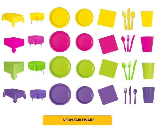 Superieur NEON TABLEWARE Disposable Birthday Supplies Event Decorations {UNIQUE}