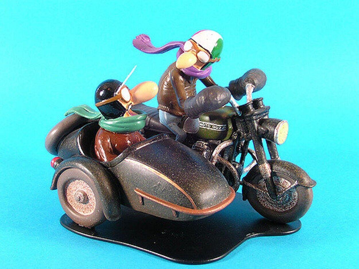 FIGURINE JOE BAR TEAM GUIDO & ED SIDE CAR MOTO BIKE GUZZI 1 18 RESINE