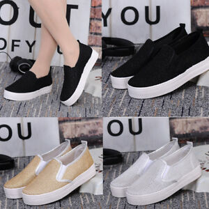 Women-Students-Flat-Shoes-Boat-Loafers-Mesh-Platform-Low-Top-Casual-Sneakers