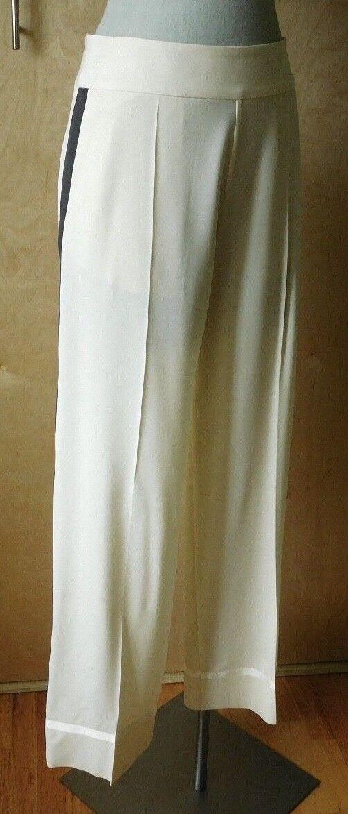 NWT Maison Martin Margiela ivory wool wide leg tuxedo trouser size 40 4