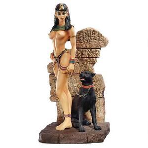 Egyptian Exotic Panther Goddess Statue Black Feline Queen Egypt Sculpture NEW