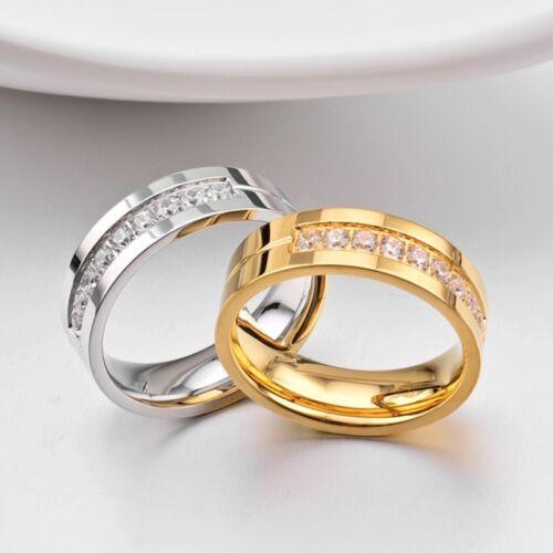 18K Gold Plated Couple Ring Men//Women Lovers CZ Titanium Steel Wedding Band 6-14