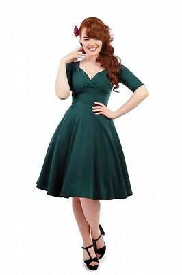 Collectif 40s Vintage Style Trixie Doll Teal Green Swing Dress