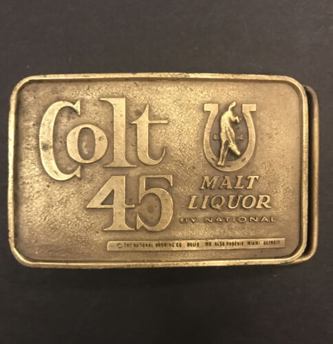 Vintage Colt 45 Malt Liquor Brass Belt Buckle 1974