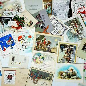 Vintage-Greeting-Card-Lot-25-Used-CHRISTMAS-Cards-Antique-Holiday-Ephemera-Paper