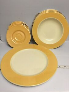 PAGNOSSIN-Martinique-Yellow-Salad-Dessert-Plates-Bowls-amp-Dinner-Plate-Set-of-9