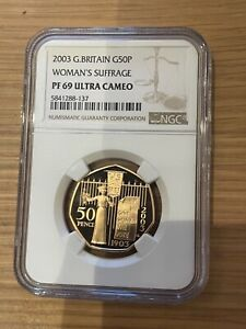 2003 Great Britain Royal Mint Proof gold 50p Coin PF69 Ultra Cameo Suffrage