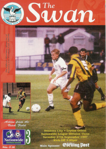 Swansea City v Orient 27 Sep 1997 FOOTBALL PROGRAMME