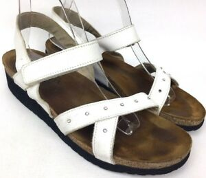 32792116783d NAOT White Leather Ankle Strap Low Wedge Jeweled Comfort Women s ...