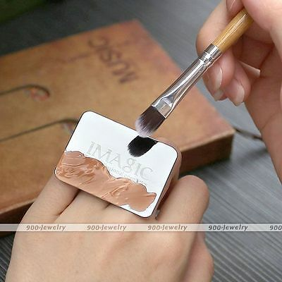 Womens Rare Nail Art Stainless Mixing Rectangle Palette With Ring Manicure Tool