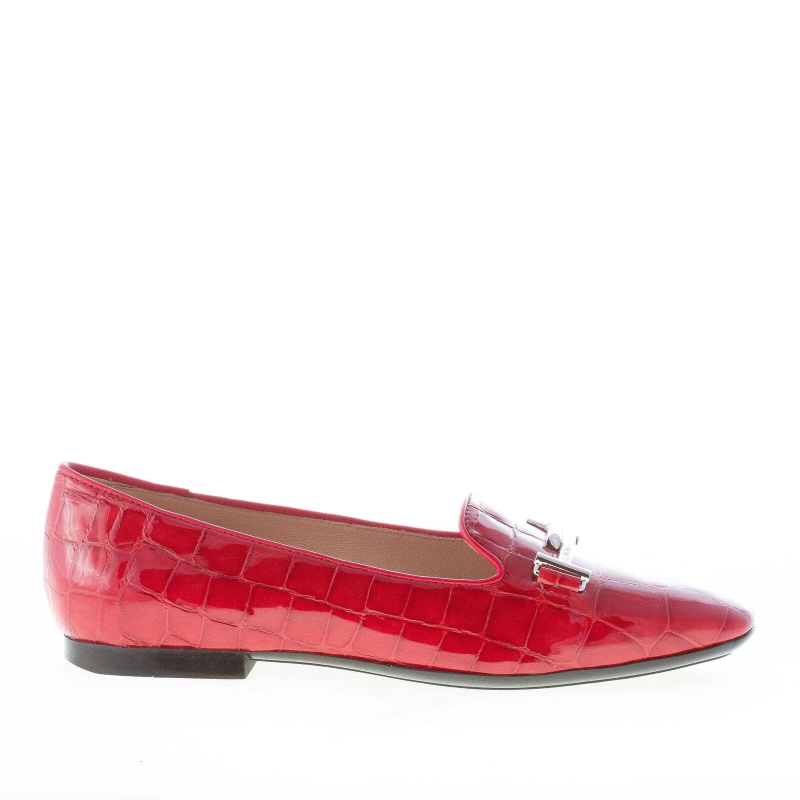 TOD's donna scarpe rosso Croc  Empord Leather Double T Loafer xxxw47a0v140fq18f  clienti prima reputazione prima